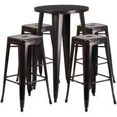 """Commercial Grade 24"""" Round Black-Antique Gold Metal Indoor-Outdoor Bar Table Set with 4 Square Seat Backless Stools"""