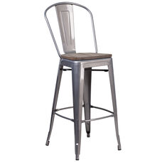 "30"" High Clear Coated Barstool with Back and Wood Seat"
