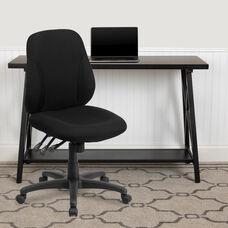 Mid-Back Black Fabric Multifunction Swivel Ergonomic Task Office Chair
