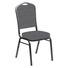 Crown Back Banquet Chair in Interweave Earth Fabric - Silver Vein Frame