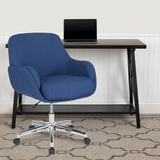 Blue Fabric with Chrome Metal finish