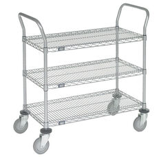 Chrome 3 Shelf Utility Cart-Polyurethane Caster - 21