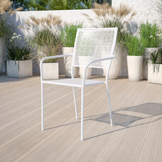 Commercial Grade White Indoor-Outdoor Steel Patio Arm Chair with Square Back