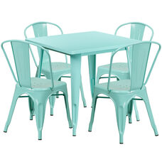 315 Square Mint Green Metal Indoor Outdoor Table Set With 4 Stack Chairs