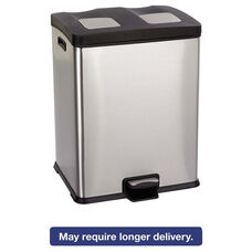 Safco® Right-Size Recycling Station - Rectangular - Steel/Plastic - 15gal - Stainless/Blk