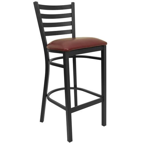 Black Ladder Back Metal Restaurant Barstool with Burgundy Vinyl Seat