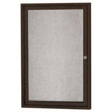 1 Door Outdoor Illuminated Enclosed Bulletin Board with Black Powder Coated Aluminum Frame - 36