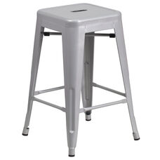 """Commercial Grade 24"""" High Backless Silver Metal Indoor-Outdoor Counter Height Stool with Square Seat"""