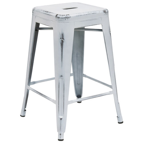 "Our Commercial Grade 24"" High Backless Distressed White Metal Indoor-Outdoor Counter Height Stool is on sale now."