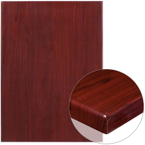 "Our 30"" x 42"" Rectangular High-Gloss Mahogany Resin Table Top with 2"" Thick Edge is on sale now."