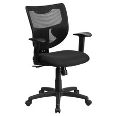 Galaxy Mid-Back Designer Black Mesh Back Swivel Task Chair with Adjustable Arms