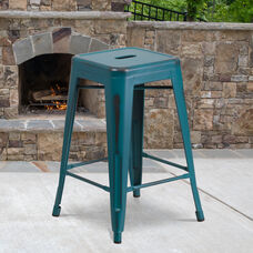 "Commercial Grade 24"" High Backless Distressed Kelly Blue-Teal Metal Indoor-Outdoor Counter Height Stool"