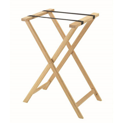 Hardwood Tray Stand with Nylon Support Straps - Light Stain and Semi Gloss Lacquer Finish