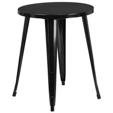 "Commercial Grade 24"" Round Black Metal Indoor-Outdoor Table"