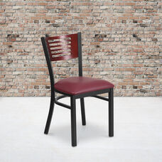 Black Decorative Slat Back Metal Restaurant Chair with Mahogany Wood Back & Burgundy Vinyl Seat