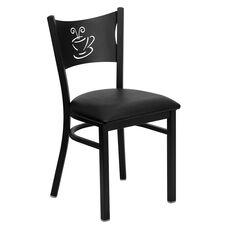 Black Coffee Back Metal Restaurant Chair with Black Vinyl Seat