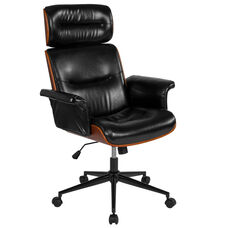 Contemporary Black Leather High Back Walnut Wood Executive Swivel Ergonomic Office Chair