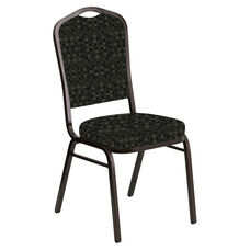 Embroidered Crown Back Banquet Chair in Empire Pewter Fabric - Gold Vein Frame