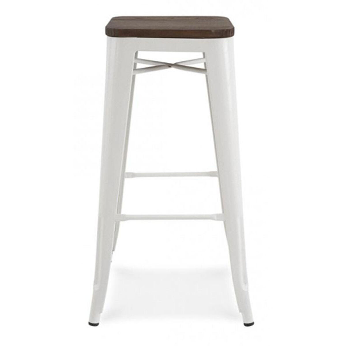 Design Lab Mn Dreux Stackable Glossy White Steel Barstool