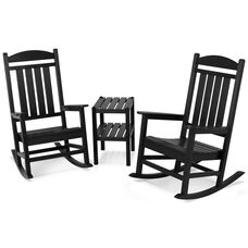 POLYWOOD® Presidential 3-Piece Rocker Set - Black