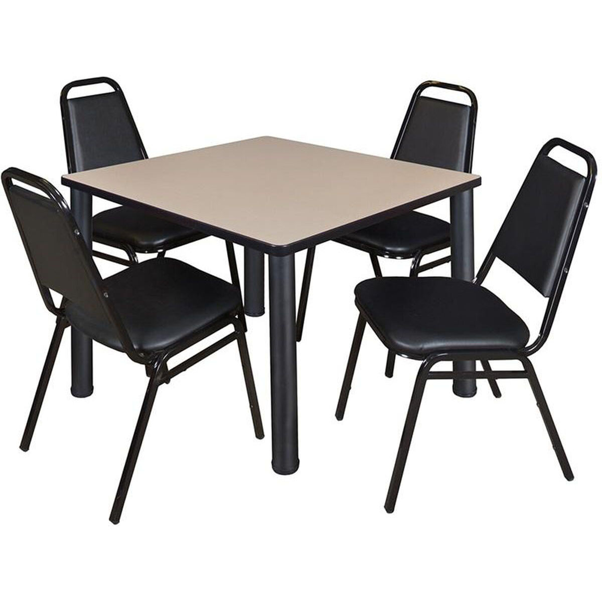 Square table and stack chair set tb bebpbk bk