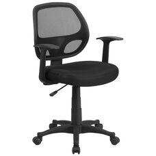 Mid-Back Black Mesh Swivel Task Office Chair with T-Arms
