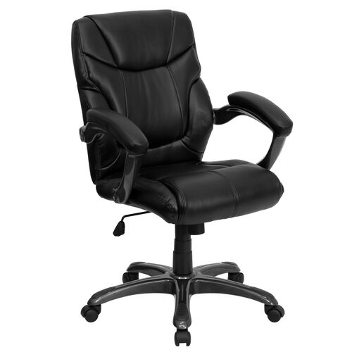 Our Mid-Back Black LeatherSoft Overstuffed Swivel Task Ergonomic Office Chair with Arms is on sale now.