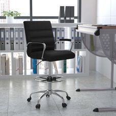 Black Leather or Faux Leather with Chrome Metal finish
