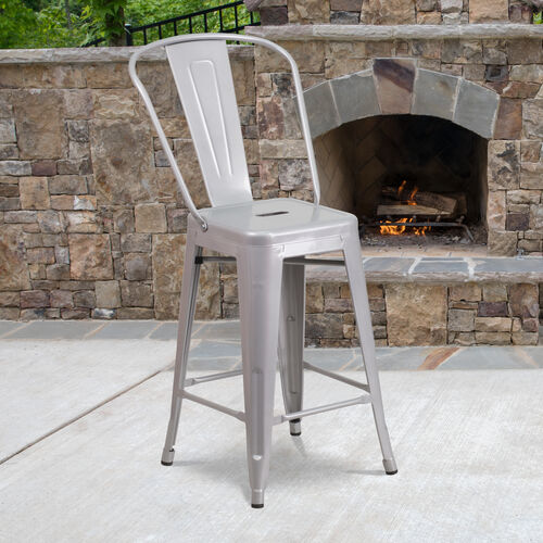 """Our Commercial Grade 24"""" High Silver Metal Indoor-Outdoor Counter Height Stool with Removable Back is on sale now."""
