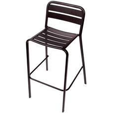 Vista Stackable Outdoor Aluminum Barstool - Black