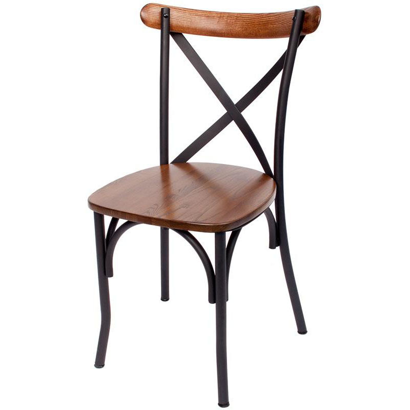 Henry Metal Cross Back Side Chair   Autumn Ash Wood Seat
