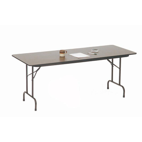 Quick Ship Walnut Top Melamine Folding Table with Brown Frame - 30