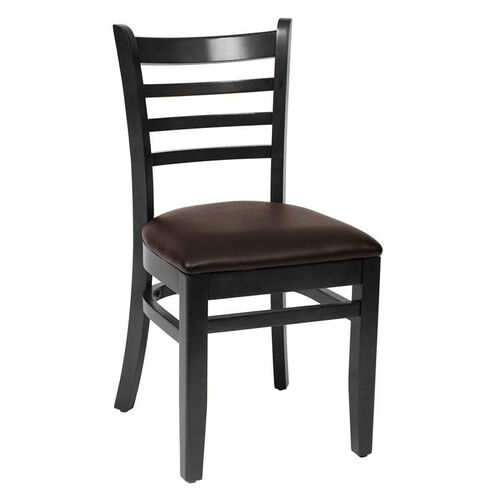 Our Burlington Black Wood Ladder Back Chair - Vinyl Seat is on sale now.