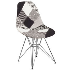 Elon Series Turin Patchwork Fabric Chair with Chrome Base