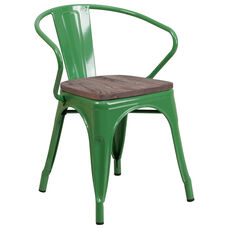 Green Metal Chair with Wood Seat and Arms