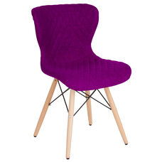 Riverside Contemporary Upholstered Chair with Wooden Legs in Purple Fabric