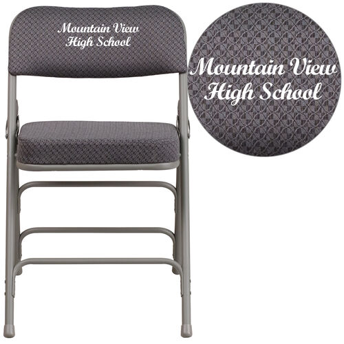 Our Embroidered HERCULES Series Premium Curved Triple Braced & Double Hinged Gray Fabric Metal Folding Chair is on sale now.