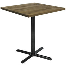 Urban Loft Collection 36'' Square Vintage Wood Top with Black Bistro Height Table Base - Natural
