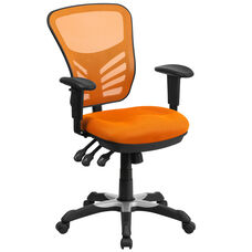 Mid-Back Orange Mesh Multifunction Executive Swivel Ergonomic Office Chair with Adjustable Arms