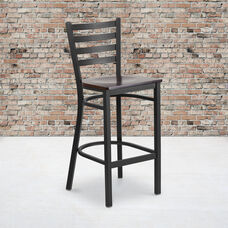 HERCULES Series Black Ladder Back Metal Restaurant Barstool - Walnut Wood Seat