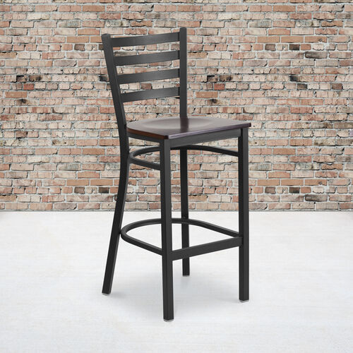 Our HERCULES Series Black Ladder Back Metal Restaurant Barstool - Walnut Wood Seat is on sale now.