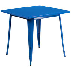 """Commercial Grade 31.5"""" Square Blue Metal Indoor-Outdoor Table"""