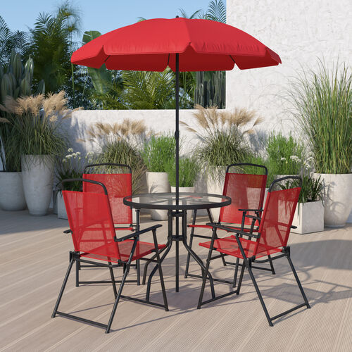 Nantucket 6 Piece Red Patio Garden Set with Umbrella Table and Set of 4 Folding Chairs