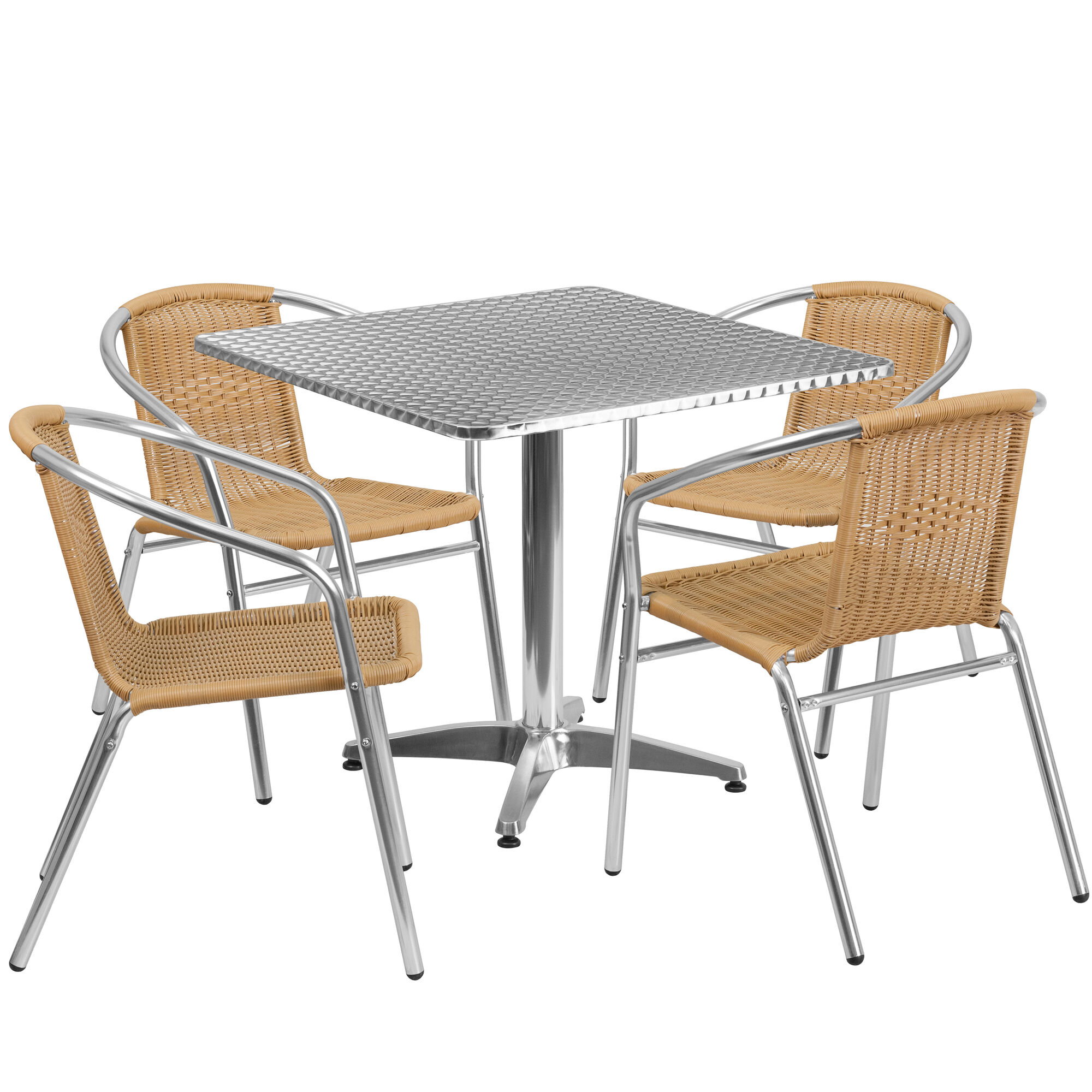 Sq aluminum table set tlh alum bgechr gg