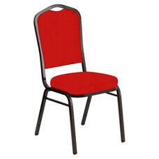 Embroidered Crown Back Banquet Chair in E-Z Sierra Torch Red Vinyl - Gold Vein Frame