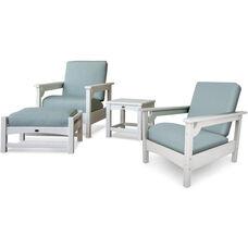 POLYWOOD® Club 4-Piece Deep Seating Set - White / Spa