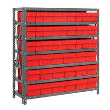 7 Shelf Open Unit with 18 Large Drawers and 27 Small Drawers - Red