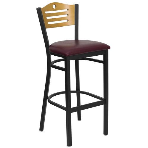Our Black Slat Back Metal Restaurant Barstool with Natural Wood Back & Burgundy Vinyl Seat is on sale now.