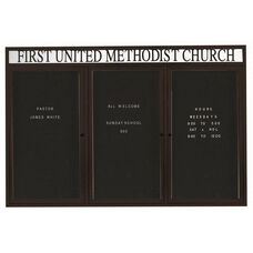 3 Door Outdoor Enclosed Directory Board with Header and Black Anodized Aluminum Frame - 48