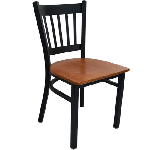 Advantage Black Metal Vertical Slat Back Chair - Cherry Wood Seat
